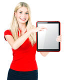 Young woman with tablet PC royalty free stock image