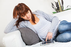 Young Woman with Tablet PC Stock Image