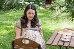 Young woman with tablet PC Stock Photos
