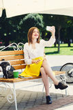 Young woman with tablet pc in the park Stock Photo