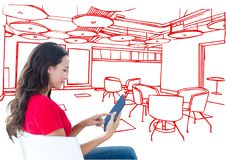 Young woman with tablet sitting in office red lines Royalty Free Stock Photography