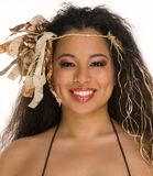 Young woman in Tahitian outfit Royalty Free Stock Images