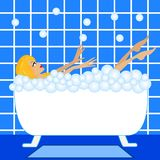 Young woman take a bath with foam Royalty Free Stock Photos