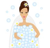 Young woman take a bath with foam Royalty Free Stock Photography