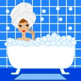 Young woman take a bath with foam Stock Photo