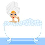 Young woman take a bath with foam Royalty Free Stock Image