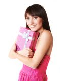 Young woman take the gift box Stock Images