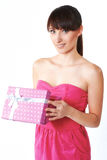 Young woman take the gift box Stock Photo