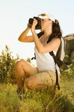 Young woman take photography in the mountain Stock Images