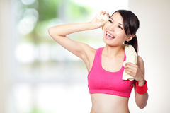 Young woman take a rest after sport Stock Images