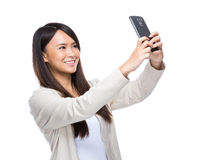 Young woman take selfie mobile phone Royalty Free Stock Photos