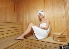 Young woman take a steam bath Stock Images
