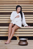 Young woman take a steam bath Royalty Free Stock Images
