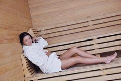 Young woman take a steam bath Stock Photo