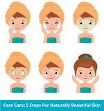 Young woman taking care of her face skin in 5 beauty steps Royalty Free Stock Images