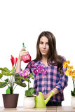 The young woman taking care of home plants Royalty Free Stock Image