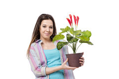 The young woman taking care of plants isolated on white Royalty Free Stock Photos