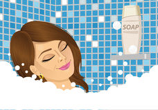 Young woman taking a foam bath with eyes closed Royalty Free Stock Photo
