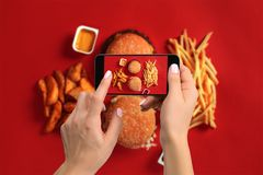 A young woman taking photo of food on smartphone, photographing meal with mobile camera Royalty Free Stock Photos