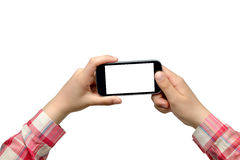 Young woman taking photo with smartphone Royalty Free Stock Image