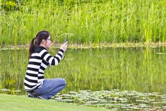 Young woman taking photographs Royalty Free Stock Photo