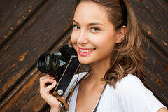 Young woman taking photos Royalty Free Stock Photography