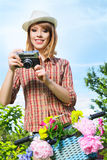 Young woman taking photos Stock Photos
