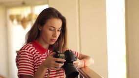 Young woman taking a pic stock footage