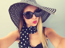 Young woman taking a selfie Stock Images