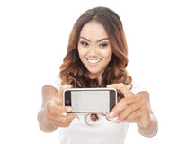 Young woman taking selfie photos with mobilephone. Portrait of young woman taking selfie photos with mobilephone Stock Images