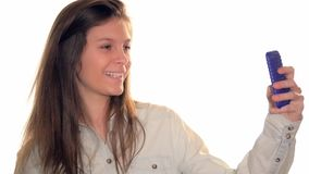 Young woman taking a selfie stock footage