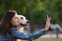 Young woman taking selfie together with her dog. In park. Pet care Stock Images