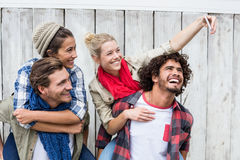 Young woman taking selfie. Young women taking selfie with her friends Stock Photography