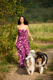 Young woman taking two collies on a walk Stock Photography