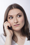 Young woman talk to mobile phone Stock Photo