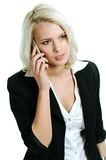 Young woman talking. Young and beautiful woman with mobil Stock Image