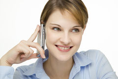 Young woman talking on a cell phone Stock Photo