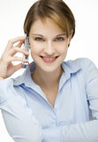 Young woman talking on a cell phone Stock Photos