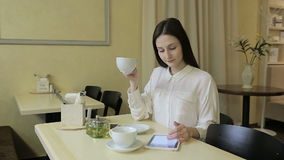 Young woman talking on cellphone in cafe stock video