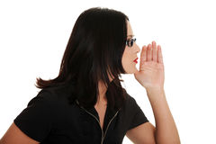 Young woman talking gossip Royalty Free Stock Photography