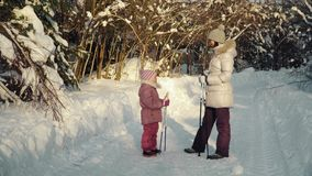 Mom and daughter talking before nordic walking in the suburbs in winter. stock video footage