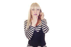 Young woman talking by mobile Stock Images