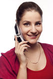 Young woman talking by mobile Royalty Free Stock Photos