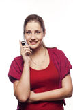 Young woman talking by mobile Stock Image