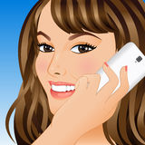 Young woman talking on mobile phone. Portrait of a smiling young woman talking on a mobile phone. Vector illustration Royalty Free Stock Photography