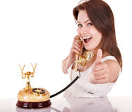 Young woman talking by phone. Stock Photos