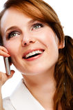 Young woman talking by phone Stock Photos