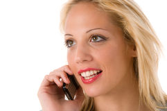Young woman talking on the phone Stock Images