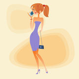 Young woman talking on the phone. Young woman in evening dress talking on the smartphone royalty free illustration