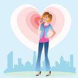 Young woman talking on the phone heart. Young woman on the background of the city talking on the phone from which emanate waves of the heart vector illustration